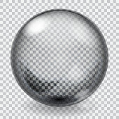 Transparent glass sphere with scratches, roughness, glares and shadow. Vector illustrations.
