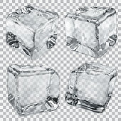 Set of four transparent ice cubes in gray colors. Vector illustrations. EPS10, JPG and AI10 are available