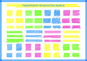 Transparent highlight pen marks set vector illustration. Hand drawn square and rectangle pen scribbles in yellow and blue, pink and green transparent neon colors for social media highlight design