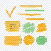 Vector set of transparent highlighter marks, orange and green on demonstrative gray grid
