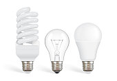 transparent incandescent bulb, fluorescent and led bulb vector