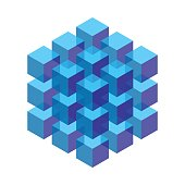 isometric cubes stacked in a block. vector element for design