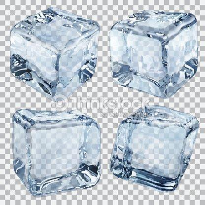 Transparent Light Blue Ice Cubes Vector Art