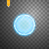 Transparent light effect of electric ball lightning. Magic plasma ball.Vector illustration. EPS 10.