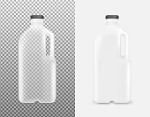 Transparent plastic bottle with handle for milk and juice.