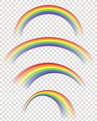 Vector illustration of rainbows. Eps10 vector file, contains transparent objects. High resolution JPG, PNG (transparent background) and AI files are included.