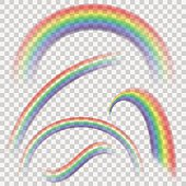 Different rainbows ready to used on raster images for realistic effect.