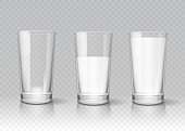 Transparent realistic glasses of milk vector set