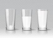 Transparent realistic glasses of milk vector set