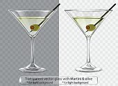Transparent vector glass with Martini and olive for dark and light background