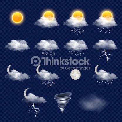 Transparent weather forecast icon set, vector realistic illustration : stock vector