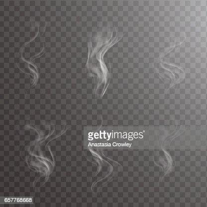 Vapor blanco transparente con taza en ilustración de vector de fondo de fondo oscuro. : Arte vectorial