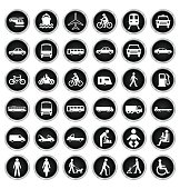 Black and white private commercial transport and people related icon collection isolated on white background