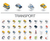 Isometric flat icon set. 3d vector colorful illustration with transport, transportation symbols. Police car, train, yacht, taxi, bicycle and truck colorful pictogram Isolated on white