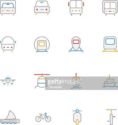 Transporte de color iconos de 1 línea : Arte vectorial
