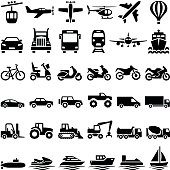 Transport icon collection - vector silhouette illustration