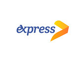 Transport logistic icon arrow for express delivery or courier logistics shipping and transportation service. Vector isolated yellow arrow forward icon template for postal logistics company design
