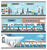 Transportation and travel banner set: business people and tourists at the airport, at the railway station and boarding on a luxury cruise ship