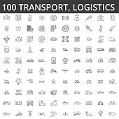 Transportation, car, logistics, vehicle, public transport, bus, tram, ship, shipping auto service truck line icons signs Illustration vector concept Editable strokes