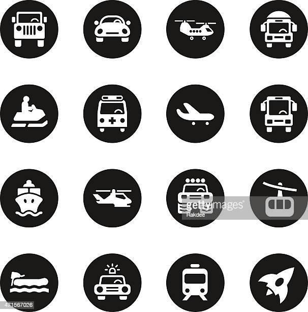 Transportation Icons Set 2 - Black Circle Series