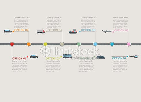 Transportation Infographic Timeline With Stepwise Numbered