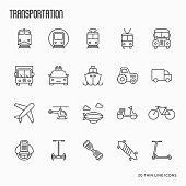 Transportation, logistics and travel thin line icons set. Vector illustration.