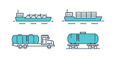 Transportation petroleum products. Sea freight, train, transportation on machine, car. Oil plant, production, gasoline, storage, drilling rig, tanker Illustration thin line design of vector doodles