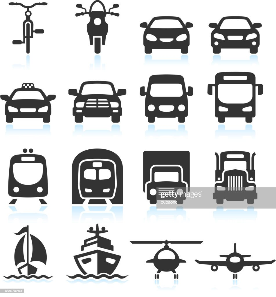 transportation vehicles black white royalty free vector icon set