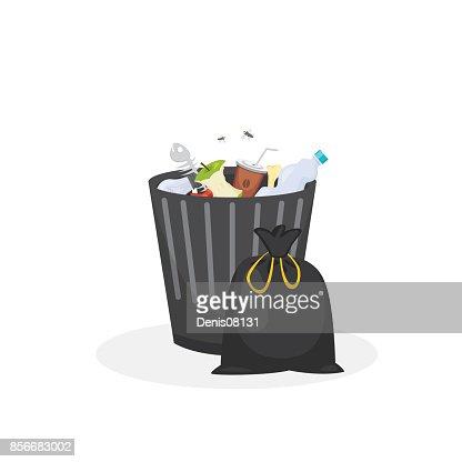 Trash bin garbage container vector illustration in cartoon style : stock vector