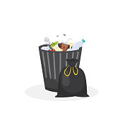 Trash bin garbage container vector illustration in cartoon style.