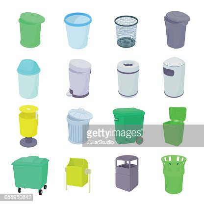 Trash bin set icons : stock vector