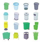Trash bin set icons in isometric 3d style isolated on white background