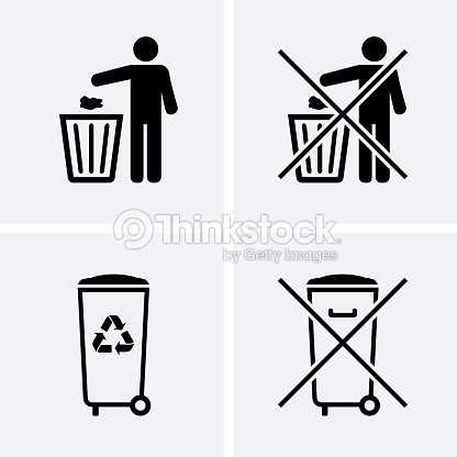 Outdoor Plastic Trash Can Icons Set Hexagon