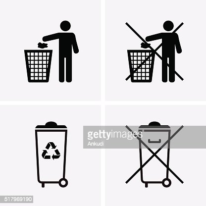 Trash Can Icons. Waste Recycling. Do Not Litter. : stock vector