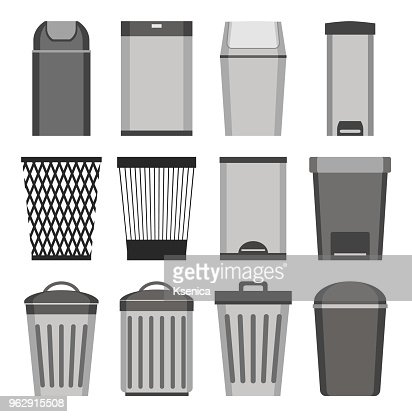 Trash can. set of icons. Isolated on white background. Vector illustration. : stock vector