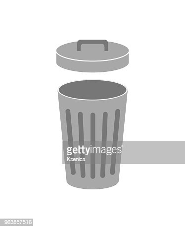 Trash can with lid open. Isolated on white background. Vector illustration. : stock vector