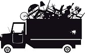 Black vector silhouette of a waste collection truck filled with garbage, EPS 8, no white objects