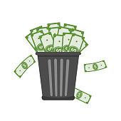 Trash full of money. Inflation concept. Vector illustration flat design