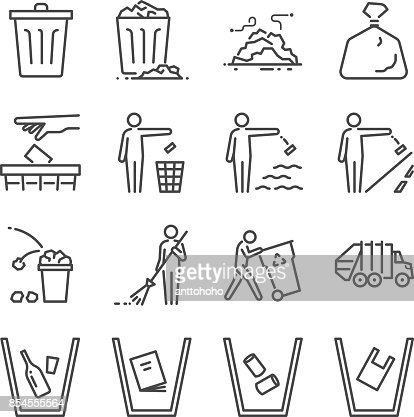 Trash line icon set. Included the icons as garbage, dump, refuse, bin, sweep, litter and more. : stock vector