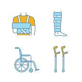 Trauma treatment color icons set. Shoulder immobilizer, shin brace, wheelchair, elbow crutches. Vector