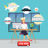 Travel agency concept. Woman sitting at the table in the office. Vacation booking airplane, cruise liner, train, auto. Flat design modern vector illustration concept.