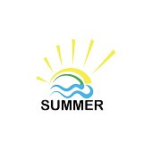 Travel agency creative symbol concept. Summer logo on a white background