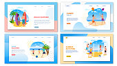 Travel Agency Landing Page Set. Banner Template Pack Proposing Fun Activities on Summer Holidays for Family and Friends. Vacation and Healthy Recreation on Tropical Beach. Vector Flat Illustration