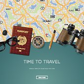 Travel and adventure template, time to travel, banner for tourism website, vector illustration.