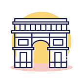 Travel and Destination Arc de Triomphe Icon with Outline Style