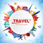 Vector illustration World Travel symbols. Eps 10 file.