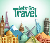 Travel and tourism vector background design with Let's go travel text and famous landmarks and tourist destinations elements in white background. Vector illustration.