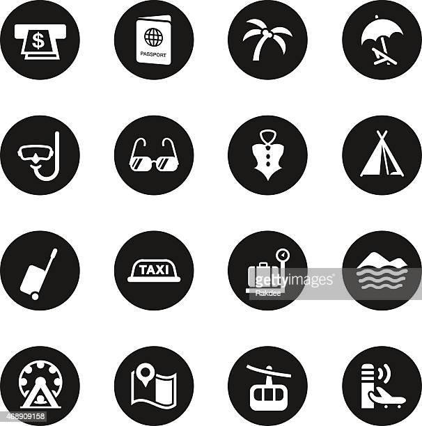 Conjunto de iconos de vacaciones y viajes-círculo negro serie 2