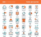 Vector set of travel and vacation flat line web icons. Each icon with adjustable strokes neatly designed on pixel perfect 48X48 size grid. Fully editable and easy to use.