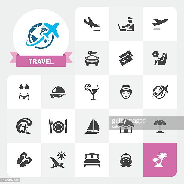 Travel and Vacations base vector icons and label